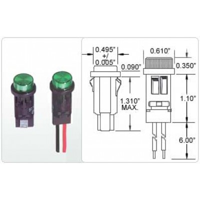 """PANEL MOUNT 14 W/ METAL TERMINALS OR W/ WIRE LEADS (Mounting Dia. Hole is 0.500\""""/0.505\"""")"""